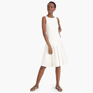 J. Crew Pleated A-line Dress in Structured Linen